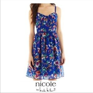Nicole by Nicole Miller   Blue Floral Dress
